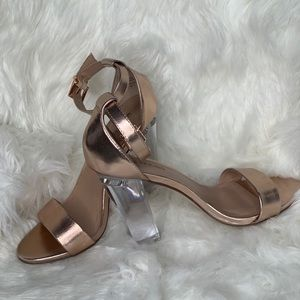 Rose Gold Clear Block Heel shoes